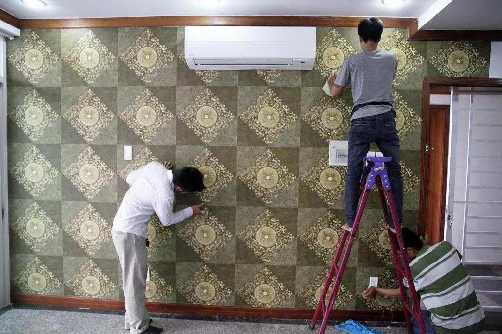 Thợ dán giấy dán tường - Thi công giấy dán tường TPHCM