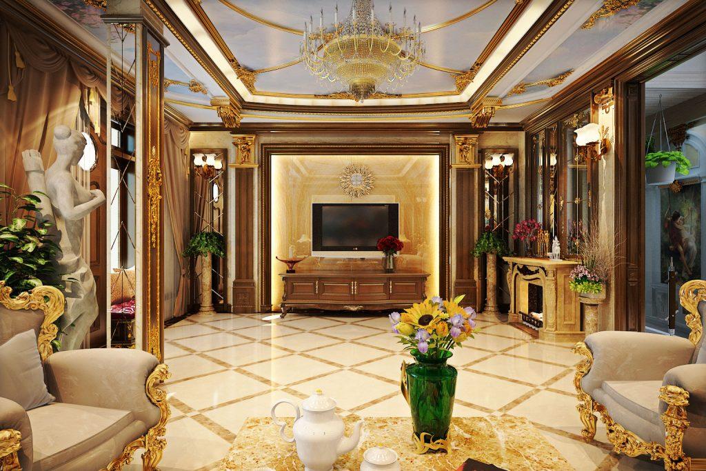 Xem mẫu phòng khách đẹp với phong cách cổ điển sang trọng