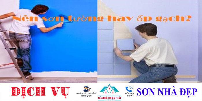 Xây nhà mới tường nhà nên sơn hay ốp gạch?