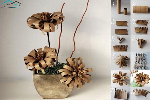 Chậu hoa được làm từ lõi giấy cuộn