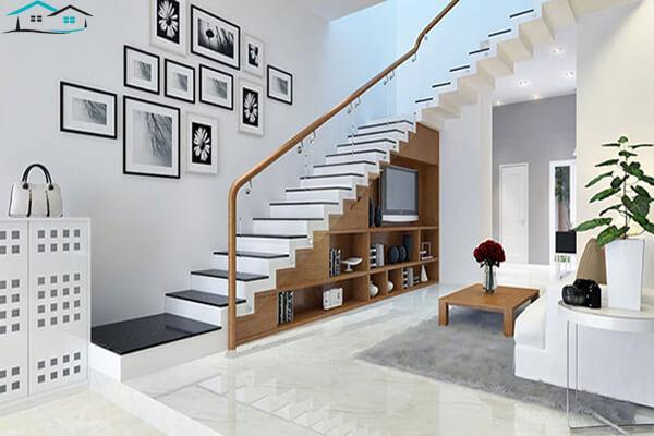 Thiết kế phòng khách đẹp với cầu thang