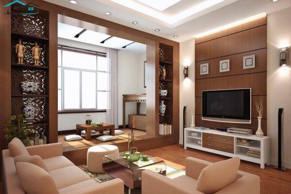 Phòng khách được trang trí hiện đại