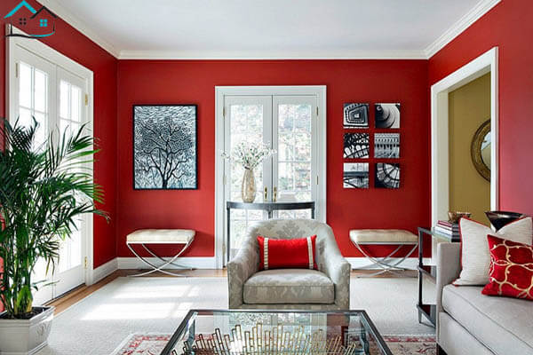 Phòng khách năng động hơn với tông màu đỏ