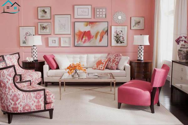 Màu sơn phòng khách hồng trẻ trung