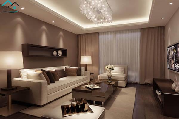 Tông màu nâu làm nổi bật nội thất phòng khách hơn
