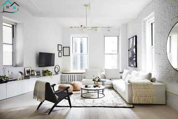 Phòng khách tối giản với tông trắng