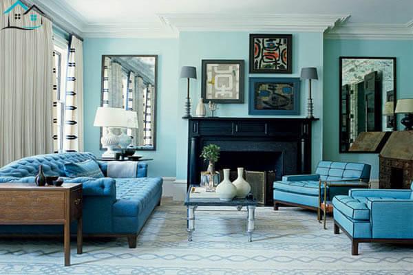 Tông màu xanh dương làm phòng khách trở nên cá tính hơn