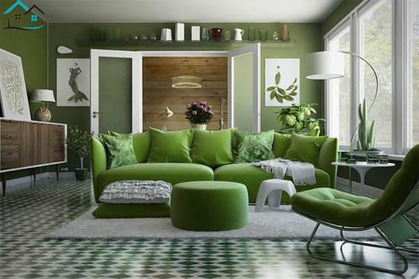 Phòng khách xanh lá gần gũi thiên nhiên