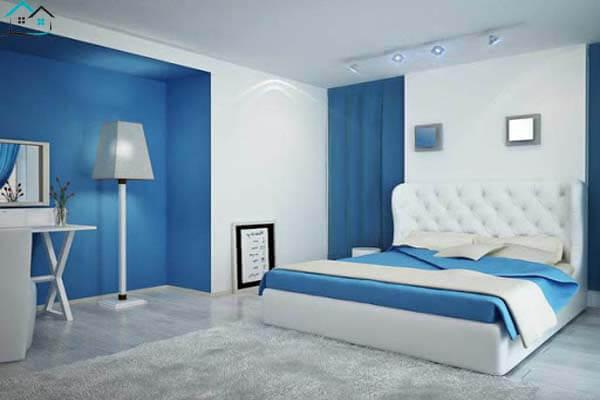 Phòng ngủ màu xanh dương đậm