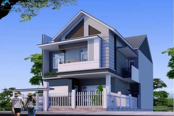 Nhà 2 tầng có ngoại thất màu xanh dương độc đáo