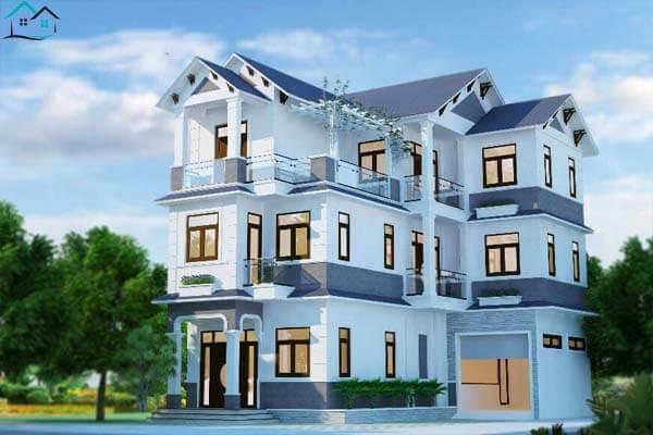 Ngoại thất nhà 3 tầng trang trí màu xanh dương bắt mắt
