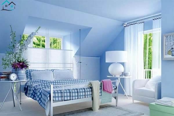 Màu xanh da trời dịu nhẹ cho phòng ngủ